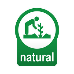 Etiqueta tipo app verde redondo NATURAL