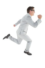 Geeky happy businessman running mid air