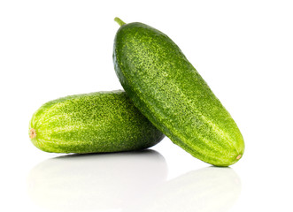Fresh cucumbers, isolated on a white background
