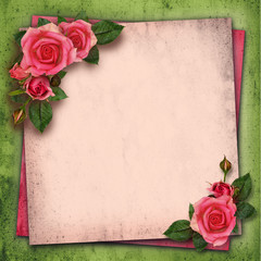 Rose flowers on vintage background