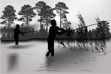two dark fisherman silhouettes in rush