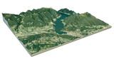 Fototapety Vista aerea del lago di Como e zone limitrofe mappa in 3d