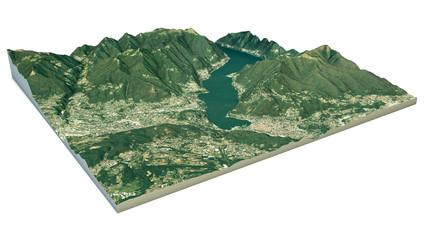 Vista aerea del lago di Como e zone limitrofe mappa in 3d