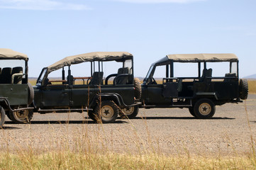 Safari cars on savannah airstrip