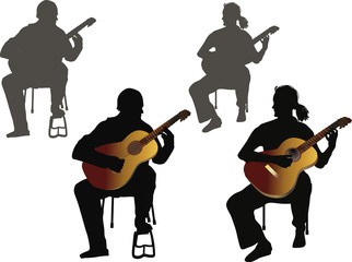 four guitarists on white background