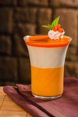 Layered dessert in glass