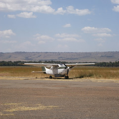 Airplane on the savannah