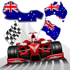 Formula 1 Red Race Car GP Australia