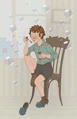Сидящий мальчик, пускающий мыльные пузыри