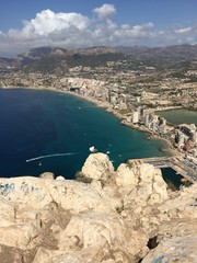 on top of the bigg stone in calpe spain.