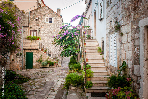 Fototapeta Picturesque small town street view in Mali Ston, Dalmatia, Croat