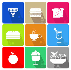 Food icons set with different colors