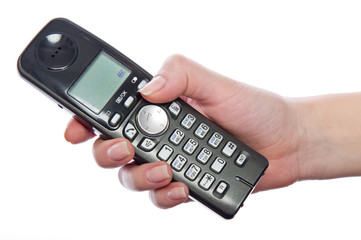 Wireless phone in woman's hand