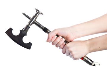 Handmade ax in woman's hand