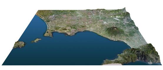 Golfo di Napoli cartina, spaccato, terra dei fuochi, Vesuvio