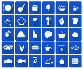 Food icons set - white on a blue background