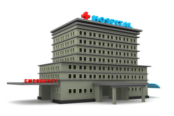 3d hospital building on a white background