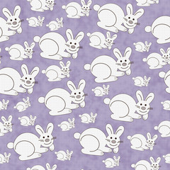 Purple and White Bunny Textured Fabric Repeat Pattern Background