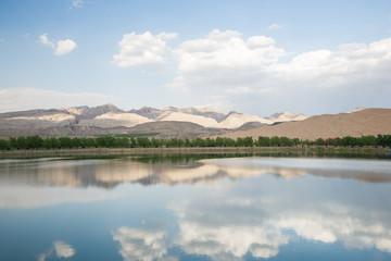desert and lake scenery,Inner Mongolia,china