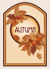 Vintage autumn card, vector illustration