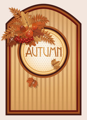 Vintage autumn background, vector illustration