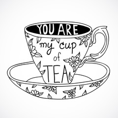 Cute hand drawn tea cup with lettering