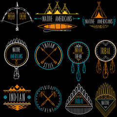 Collection of badges and labels in indian tribal style