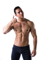 Handsome male model doing call me gesture
