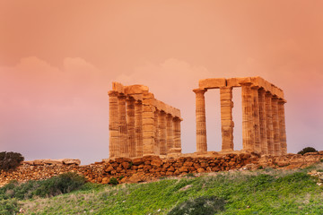 Temple of Poseidon on cape Sounion, Greece
