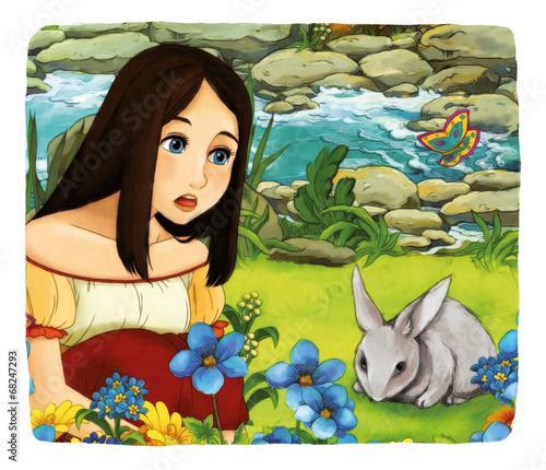 Foto op Aluminium Kasteel Cartoon fairy tale - illustration for the children