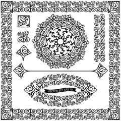 Векторный набор декоративных элементов, черный