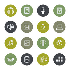 Media web icons set, color buttons