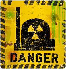 Radiation warning, nucelar power plant, vector illustration
