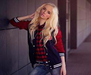 Beautiful blonde girl outdoor