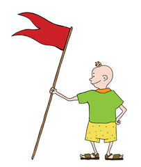 boy in shorts with flag, vector