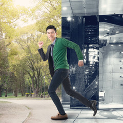 escape from the modern office to the outdoor park