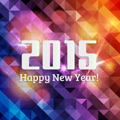 Happy new year 2015,vibrant blue and orange background