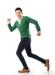 Asian young man running