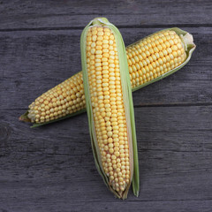 Corn on old wood background