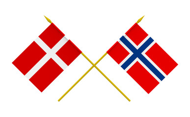 Flags, Denmark and Norway