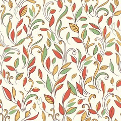 Autumn seamless background with a pattern of leaves.