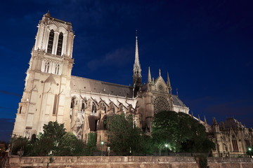 Notre Dame de Paris cathedral at night, side view