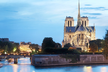 Notre Dame de Paris cathedral in France at dusk