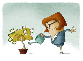 Woman taking care of her finances watering a money tree