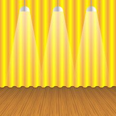 Empty room with gold curtain  and wooden floor. Vector.
