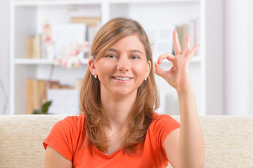 Deaf woman using sign language