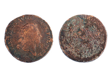 Trojak - copper coin of value 3 Polish grosz from 18th century