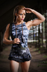 Woman in uniform with binoculars (normal version)