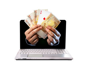 computer hands holding banknotes and ace poker playing card
