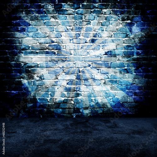 Fototapeta grunge brick wall with rays pattern